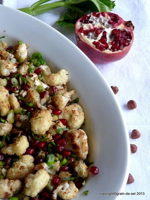 grain de sel - salzkorn: Umgefallen: Blumenkohlsalat mit Granatapfelkernen nach Y.O.