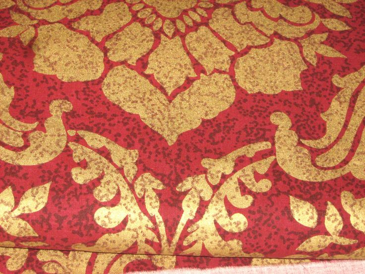 HEAVY COTTON Fabric Gold Leaf Motif Stamped on Red Background - 60 inches wide, 4 yards available By the Yard - pinned by pin4etsy.com