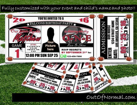 Atlanta Falcons Themed Birthday Invitation Tickets by OutOfNormal