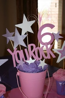 Rock Star Party center piece - just change the color theme to make it gender appropriate!