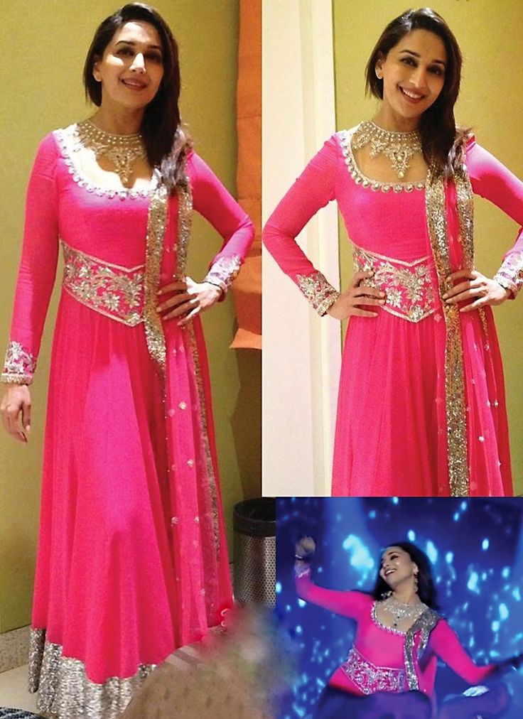 Pink Madhuri Dixit Faux Georgette Anarkali Suit www.ethnicoutfits.com Product code : 4530 Email : support@ethnicoutfits.com What's app : +918141377746 Call : +918140714515