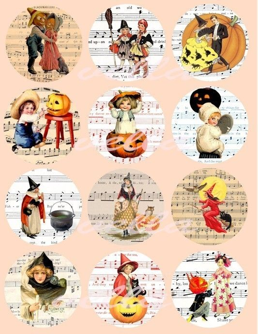 Halloween children witches sheet music clip by VellasCollageSheets, $2.50, music clips