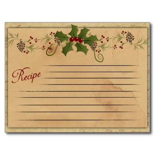Vintage Christmas Recipe Card with holly and image on back. Great to share one of your favorite holiday recipes by it;s self or add with a gift!
