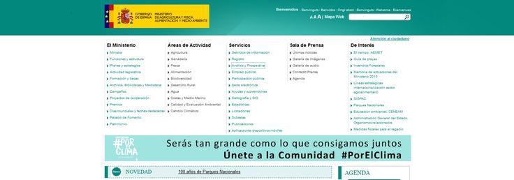 Página web del Ministerio de Agricultura, Alimentación y Medio Ambiente. Incluye BIODIVERSIA (plataforma interactiva del Inventario Español del Patrimonio Natural y de la Biodiversidad), BIOMAP (mapa virtual de consulta de catálogos de especies), GEOPORTAL, SIGA y otros recursos.