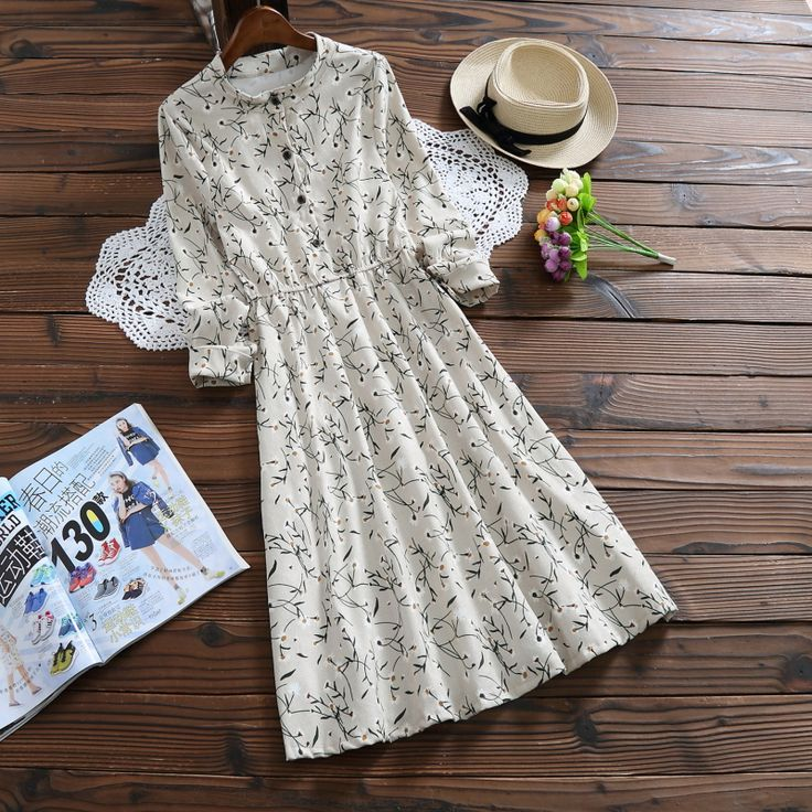 >> Click to Buy << Korean Fashion 2017 Free Shipping New Spring Corduroy Floral Full Dress Small Printing Dresses Women's Clothing  #Affiliate