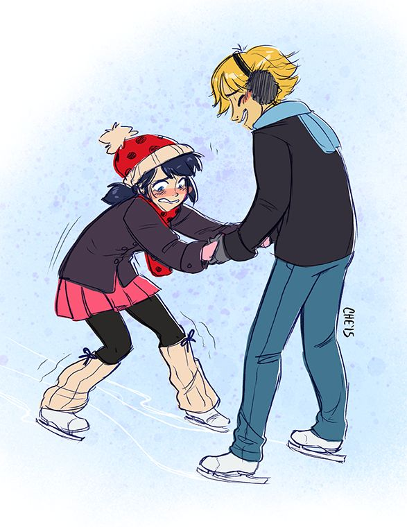 chebits:  A #ladybug_60mins  【SKATING】  I finally have been able to do one of these things aaaaAAA here have Adrien having a good time trying to teach Marinette how to ice skate!