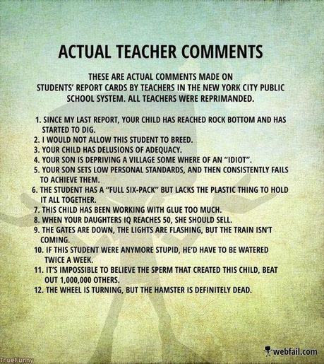 Essay comments list