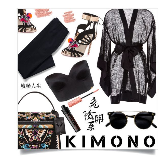 """Kimono"" by sonny-m ❤ liked on Polyvore featuring Kiki de Montparnasse, Valentino, Lands' End, Ultimo, Sophia Webster and Benefit"
