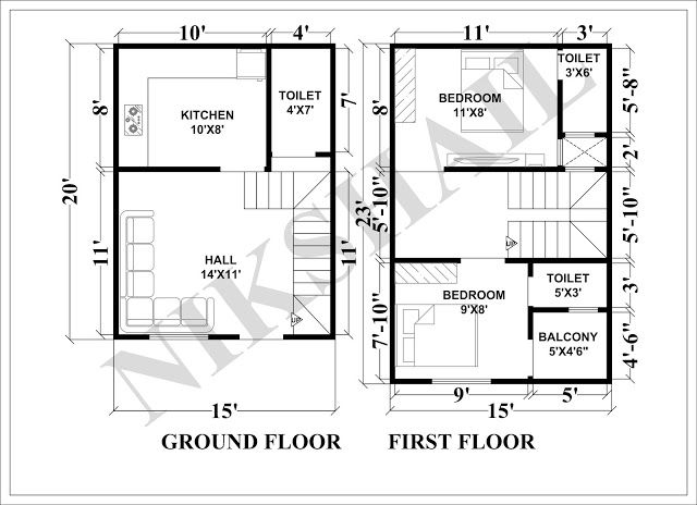 15x20 House Plan With 3d Elevation By Nikshail House Plans 20x40 House Plans 20x30 House Plans