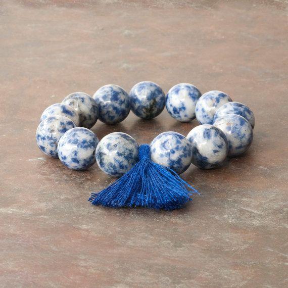 Sodalite Blue Bracelet Mala Bracelet Tassel by PiscesAndFishes