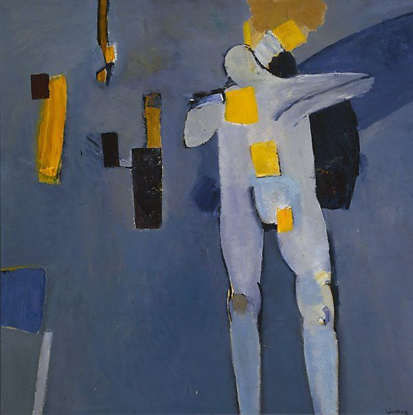 poboh:  Figure against a blue background, Keith Vaughan. English (1912 - 1977)