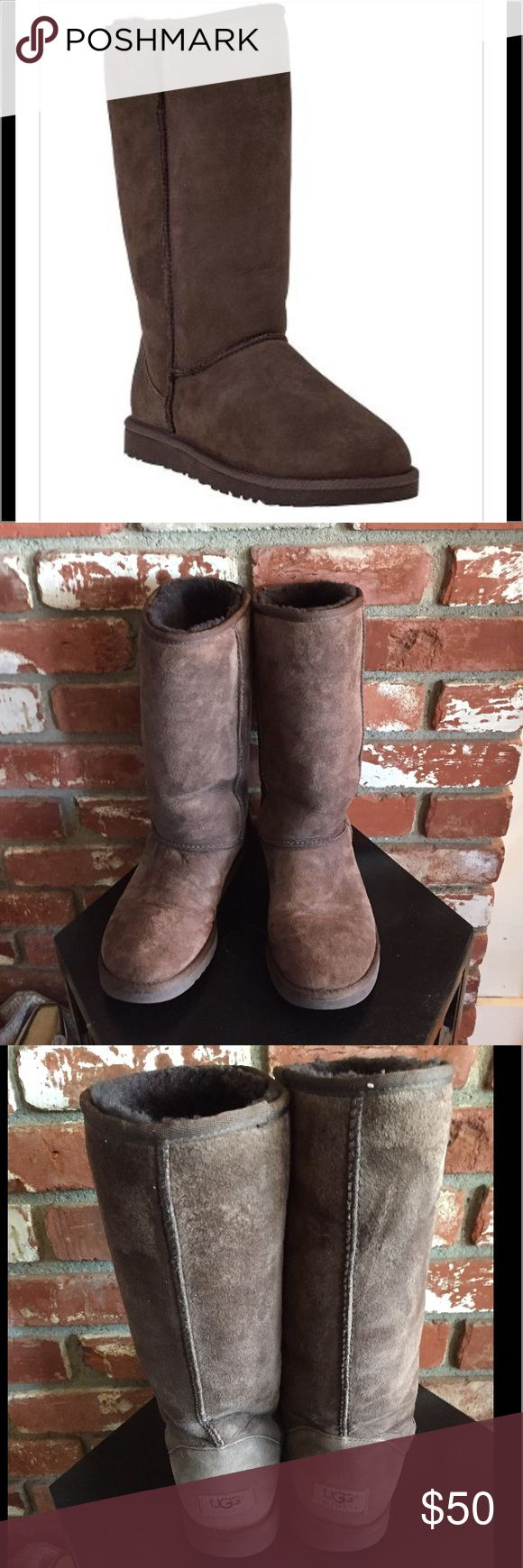 Classic Tall Ugg  Boot Chocolate size 8 Authentic pair of Classic Tall UGG Boot these are gently used in good condition. No holes, no stains. UGG Shoes Winter & Rain Boots