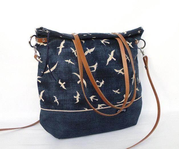 Dunkelblaue Schultertasche mit Möwen, maritimer Shopper / shopper bag with…