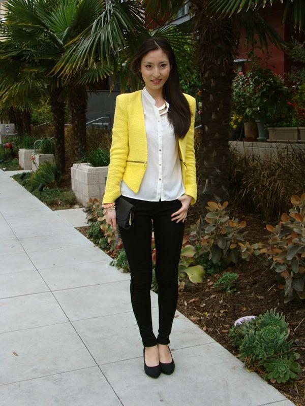 Zara yellow tweed blazer