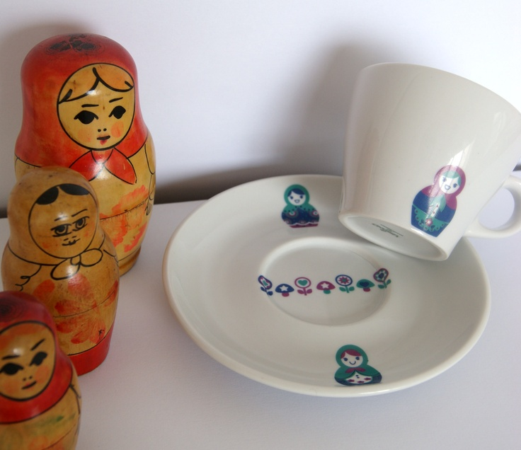 Taza de Té con porcelana con diseño de Las Nereidas