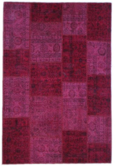 The Orient Bazaar - Distressed Red Carpet Over Dyed Rugs 8x6 ft Vintage Red Rug Hand-knotted Patchwork Carpet - Patchwork Rug