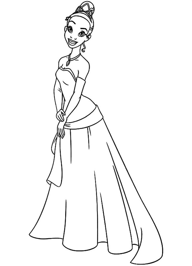 Tiana Colouring Page