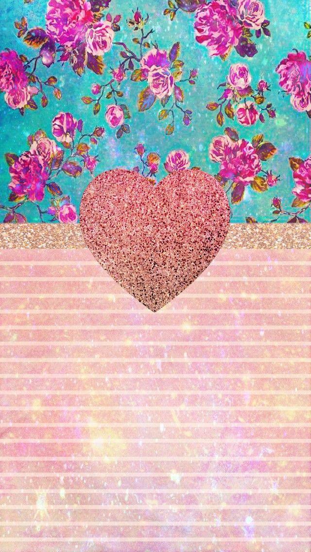 Vintage Rose Gold Design Made By Me Vintage Patterns Rosegold Hearts Roses Flowers Flo Heart Iphone Wallpaper Gold Wallpaper Background Heart Wallpaper