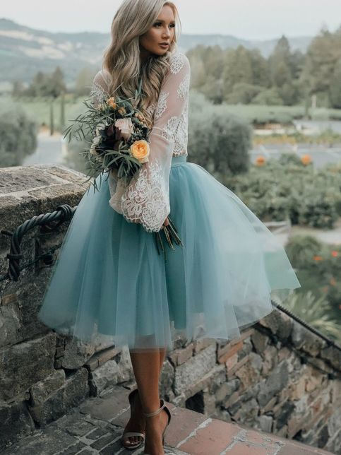 High Fashion Two-Piece Long Sleeves Homecoming Dress White Lace Top with Tutu Skirt – Pretty clothes