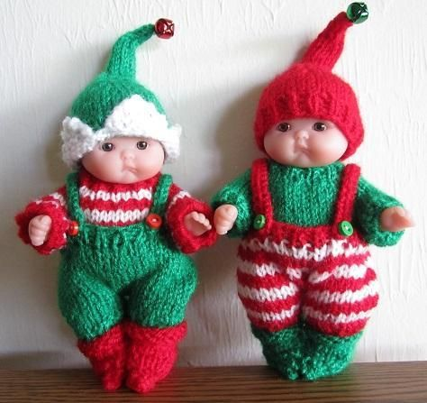 (6) Name: 'Knitting : Santa's Itty Bitty Elf Baby Doll Outfit