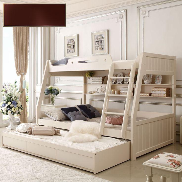 Белая детская двухъярусная кровать с книжными полками и выдвигающимися ящиками купить в интернет-магазине https://lafred.ru/catalog/catalog/detail/43887358702/