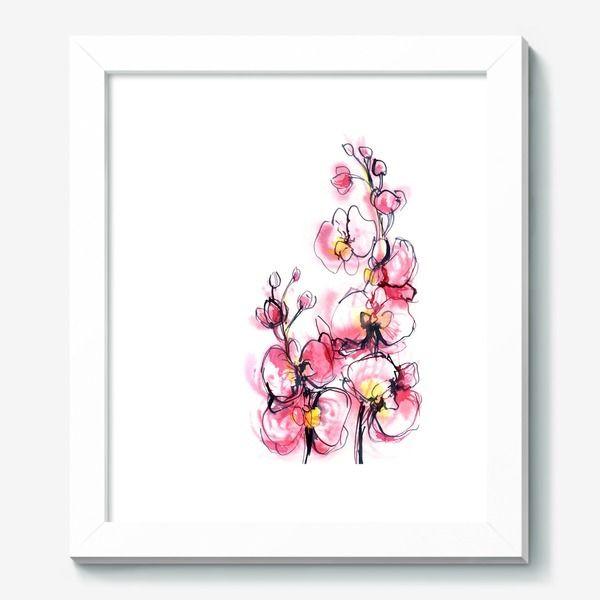Картина розовые орхидеи на белом фоне, акварельная живопись, Автор: Arina Savelieva, Цена: 3330 р.