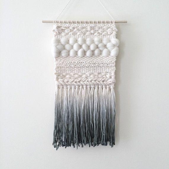 DIP teint à la main tissé décoration murale | Ivoire et gris