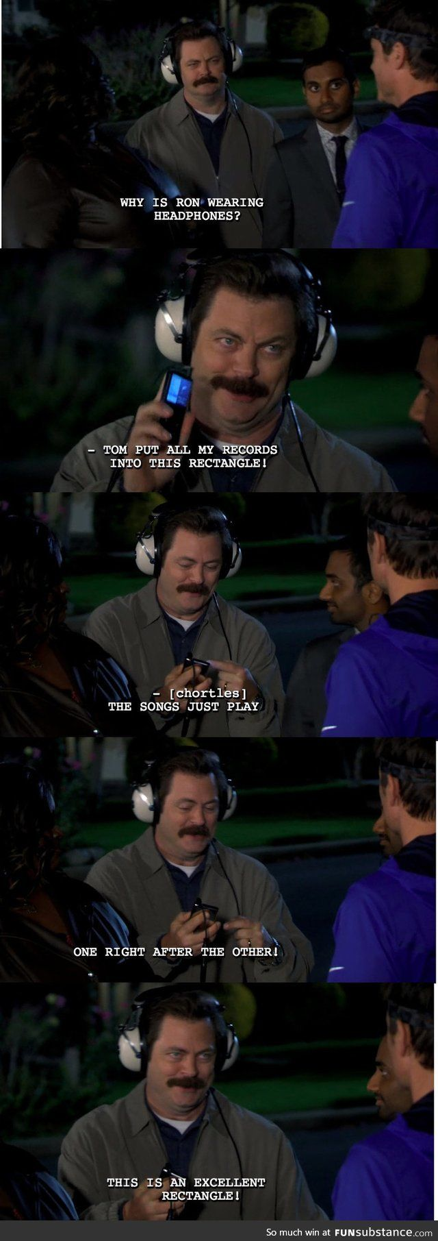 <3 My second favorite Ron Swanson moment. Second only to stabbing Jean-Ralphio in the hand with a shrimp skewer.