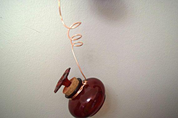 Red Glass Hummingbird Feeder Red Glass by GardenArtByDawn on Etsy