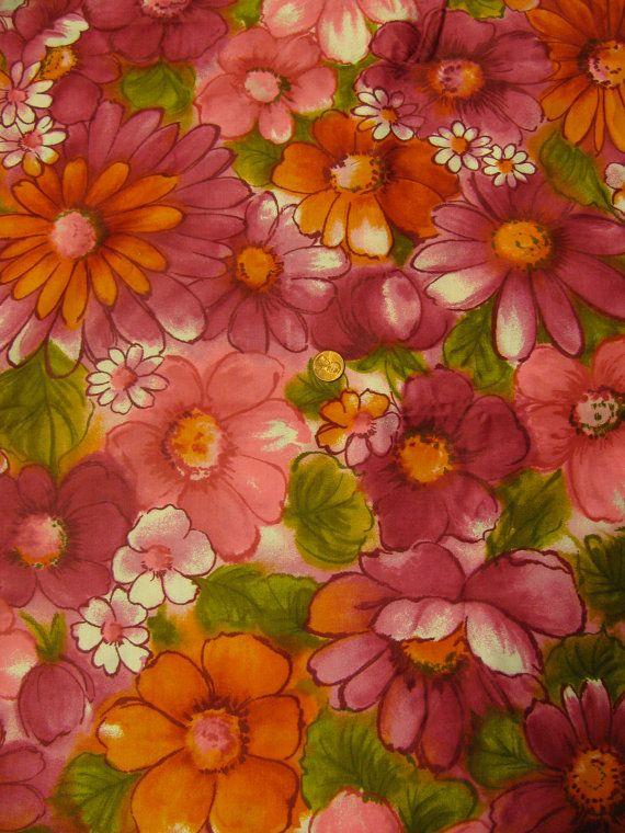Vintage Mod Flower Power Groovy 1970 S Hippie Fabric 1 Yd