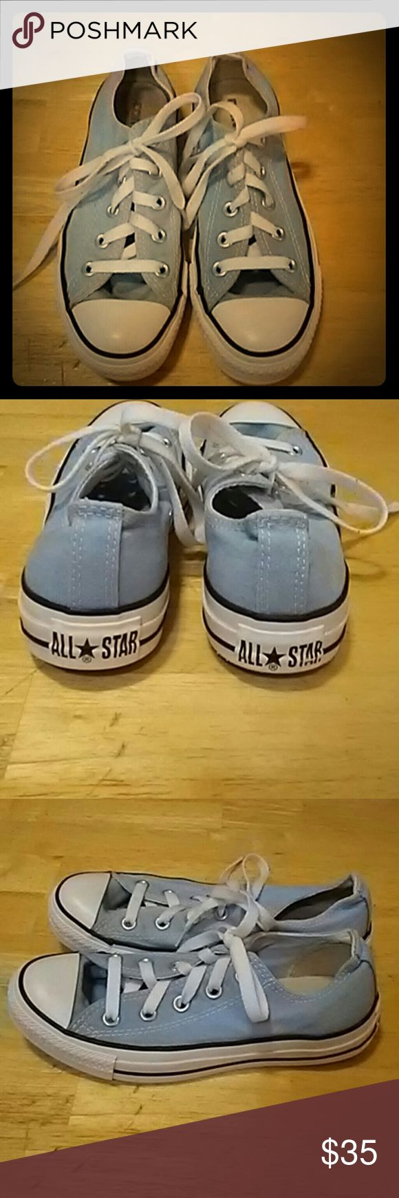 CONVERSE ALL STAR baby blu shoes / 6 awesome ALL STARS in baby blu. womens size 6. little wear on soles. excellent pre-owned condition.  REASONABLE OFFERS ACCEPTED THANK-YOU! ANY QUESTIONS?...JUST ASK CHECK OUT MY OTHER LISTINGS COVERSE ALL STAR Shoes Athletic Shoes