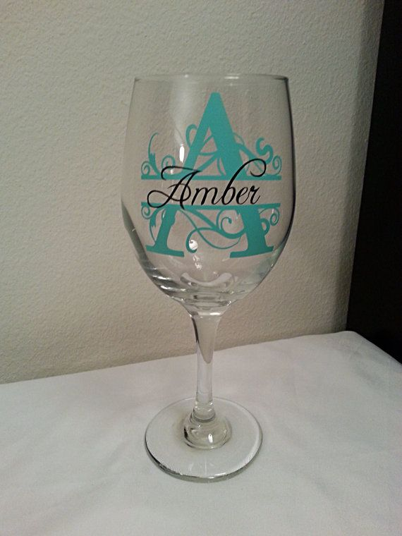 Personalized wine glass choose your vinyl colors by Customforless