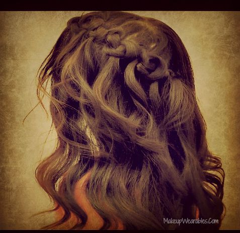 Easy Knotted Hairstyles, Waterfall Braid Knots with Curls for Medium Long Hair H