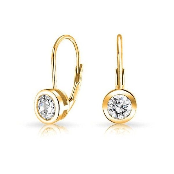 Bling Jewelry Gold Plated Bezel Round CZ Leverback Earrings 925 Sterling WnQoLnKUeP