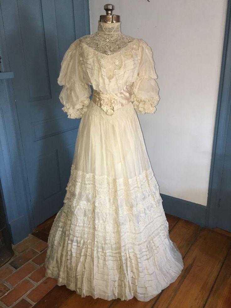 Antique C1890 Wedding Garden Party Dress Off White Silk Chiffon w Handmade Lace #SpecialOccasion