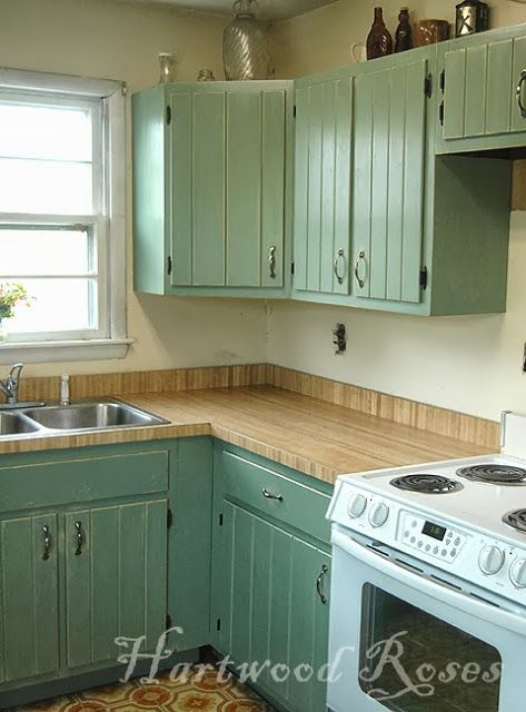 1970s oak veneered cabinets, transformed with Annie Sloan Chalk Paint.