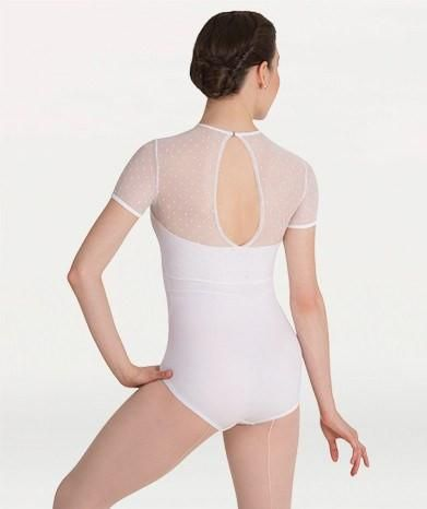 Body Wrappers P1044 Dotted Cap Sleeve Leotard white