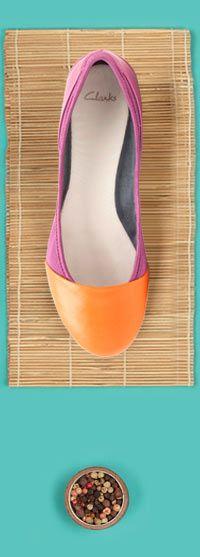 Clarks Idyllia Grace, Ballerinas im bunten Pink-Orange, für den perfekten Colour-Blocking-Look. #FS14