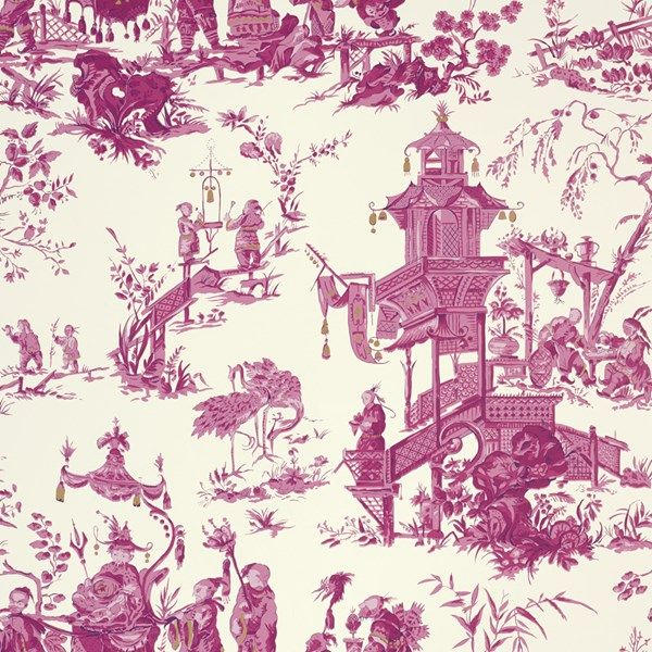Laundry Room Fabric Part - 24: 950355 Chinois Contract Red Cream By FSchumacher Fabric