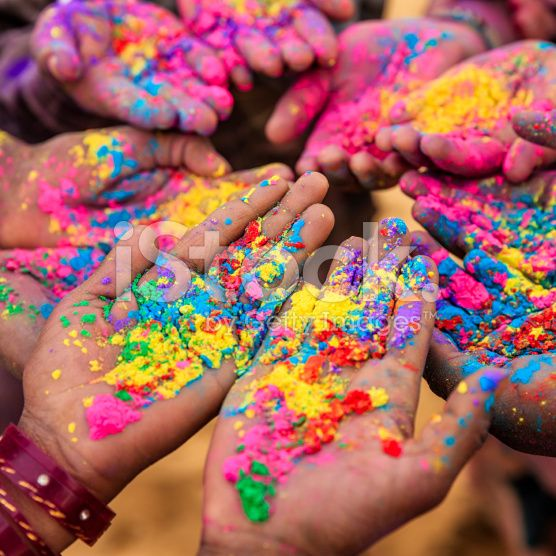Group of Indian children playing holi in Rajasthan, India royalty-free stock photo