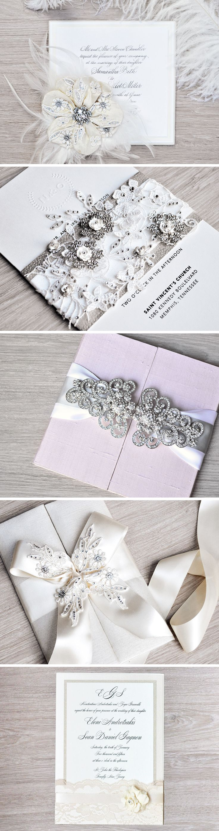 No two brides are alike...so why should your invitations be? Let the expert designers at Engaging Papers create a completely custom invitation suite for your big day, featuring luxury materials like silk, crystals, tulle, rhinestones and lace. #Couture #Wedding #EngagingPapers