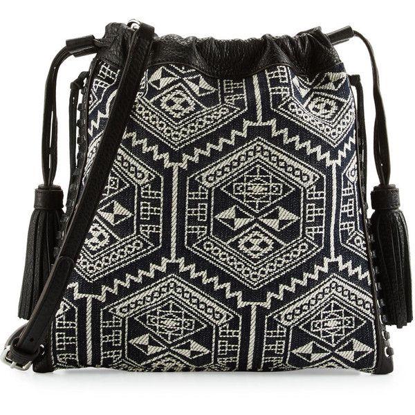 Rebecca Minkoff Moto Drawstring Crossbody Bag ($190) ❤ liked on Polyvore featuring bags, handbags, shoulder bags, aztec multi, black white handbag, aztec purse, crossbody handbags, pebbled leather handbags and drawstring handbag