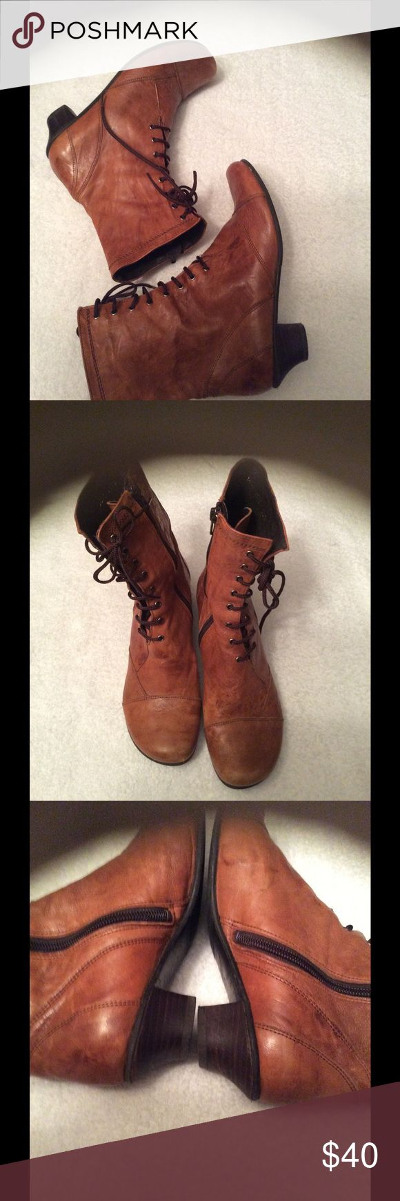 Fidji  leather boots Preloved leather granny style boots has some scuffs and stains I believe can be removed the leather is super soft boots are still super cute kind of distressed fidji Shoes Ankle Boots & Booties