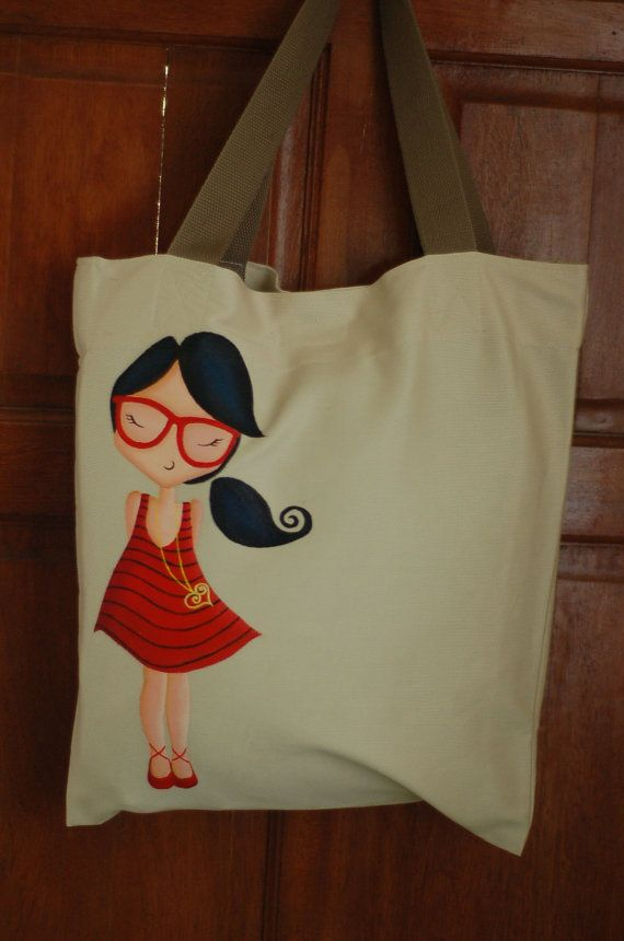 Items similar to Fuschia Girl Heart Hand Painted Art Tote Bag Philippines New on Etsy