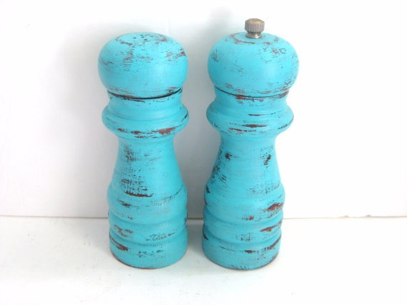 Salt And Pepper Shakers   Shabby Chic Turquoise   Kitchen Decor