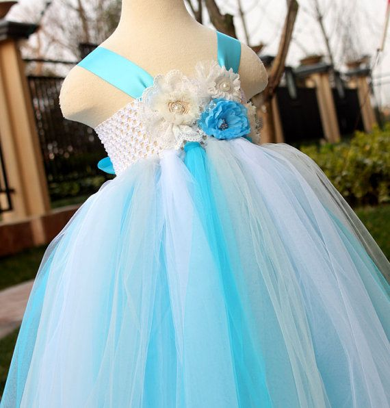 Flower girl dress turquoise grey white tutu dress baby for White and turquoise wedding dresses