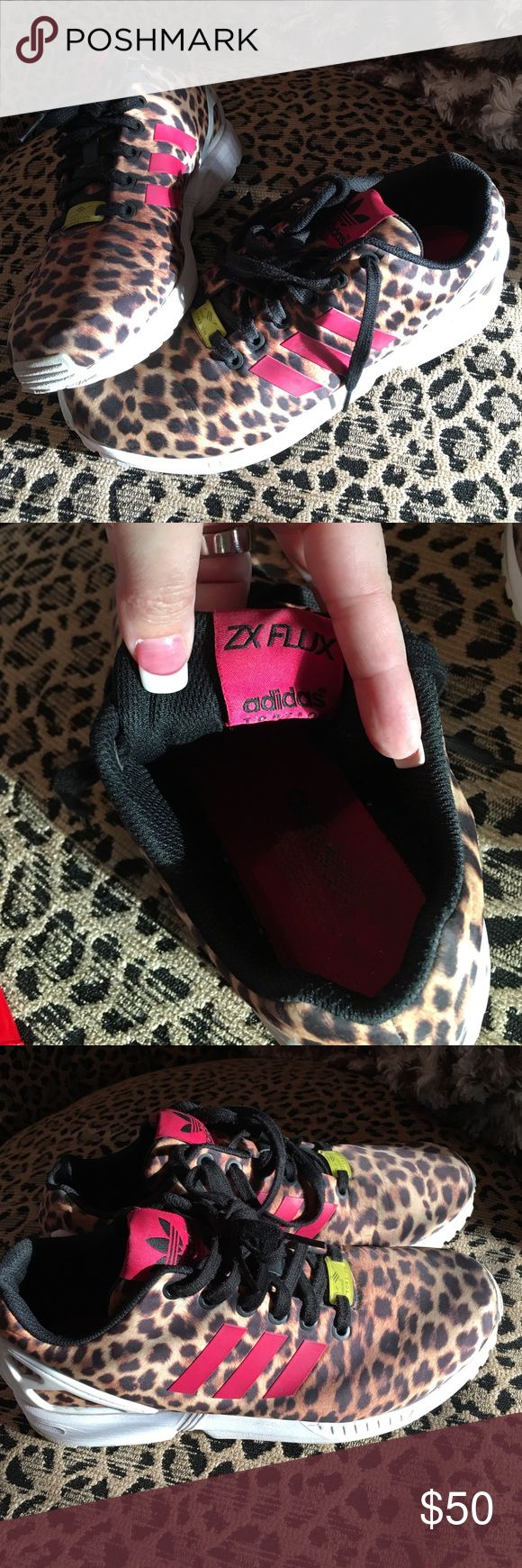 Women's Adidas ZX Flux size 8 Leopard print Adidas shoes, so cute and comfy, great for walking and jogging. Shoes Athletic Shoes