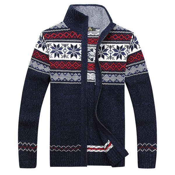 Ethnic Knitted Zipper Sweaters Casual Stand Collar Long Sleeve Blouse at Banggood