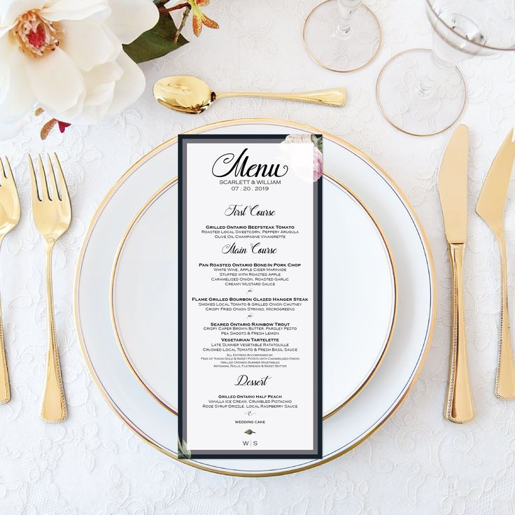 Printable Wedding Menu Personalized Watercolor Floral Wedding Menu Elegant Wedding Set - Calligraphy Wedding Stationery - Navy Pink Wedding by OnionSisterCreative on Etsy