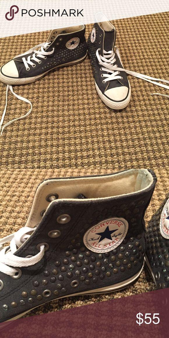 High Top Studded Converses Slate color studded converse high tops. Barely worn! Converse Shoes Sneakers